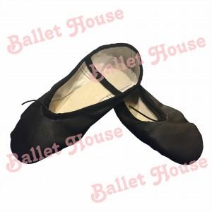 Zapatillas media punta cuero negro